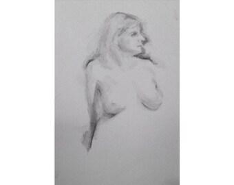 Figure- 5.5 x 8.5, graphite/wash on paper