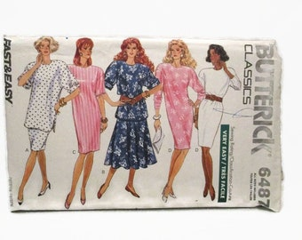 Butterick 6487 Very Easy Misses/Misses Petite Top Skirt and Dress Size XS-XL UNCUT