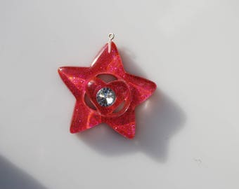 Pink glitter star 57 mm resin pendant