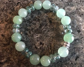 Green Aventurine and Green Rutilated Quartz Stretch Bracelet