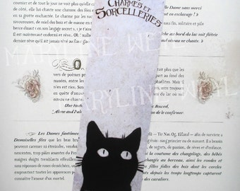 """""""cats, charms and sorcery"""" black cat bookmark"""