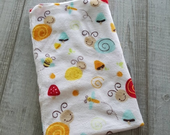Blanket, minky plush - snails red yellow and turquoise