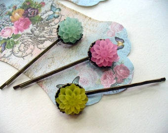 Pretty Pastel Hairpins, Antique Brass, Crown Hair Clips, Hair Accessories, Blue, Pink and Yellow Chrysanthemum,  Bobby Pins,  Flower Girl