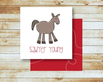 Personalized Calling Cards / Gift Tags /  Kids / Horse