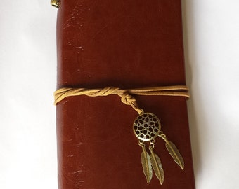 Dream catcher journal notebook jotter student artist brown faux leather