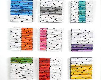 set of 9 brightly colored SQUARES - wall art- made from recycled magazines, colorful, unique, white, bold, color blocking, modern, handmade
