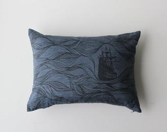 20% OFF - Linen Pillow Cover - Rectangle Blue Ships