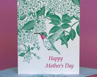 Jasmine and Hummingbird Mother's Day Card