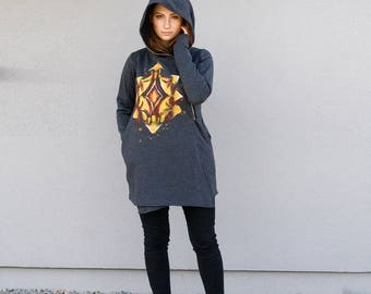 Women's Hoodie, Cotton Coat,Hand-Painted  Hoodie,  Asymmetrical Front Zipper, Hooded Coat,Handmade,Gray  Hoodie for Women's ,Clothing Navaho