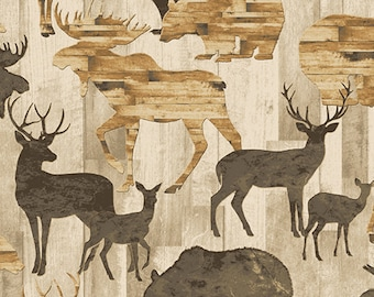 Natural Rustic Wilderness from the Living Lodge Collection by Bristol Bay Studios for Benartex Fabric, Cabin Fabric, Wilderness, Rustic