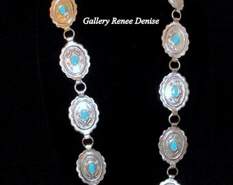Concho Belt Faux Turquoise Womens Southwestern Cowgirl Belt Native American