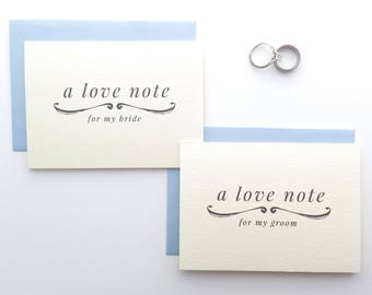 Love Note To My Bride Card / To My Groom Card / Wedding Card / Wedding Stationery Wedding Day Card for Groom Gift, Bride Gift