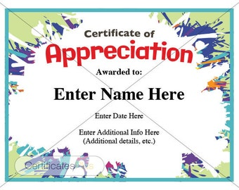 certificate of completion kid certificate child certificate