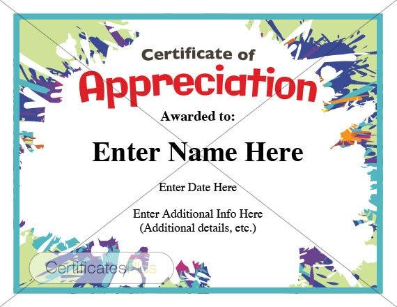 Certificate of Appreciation kid certificate child