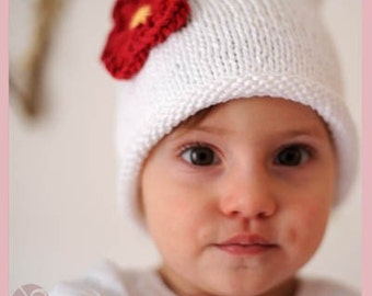 Knit Red Flower White Hat, Knit Cotton Sassy Blossom Baby Hat great photo prop