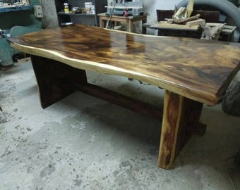 Wooden Live Edge One Slab Massive Dining Conference Table