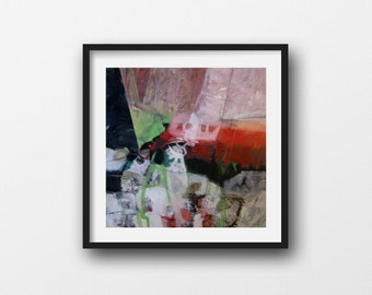 XL: Square, Original Abstract Painting in Red, White, Green, and Black