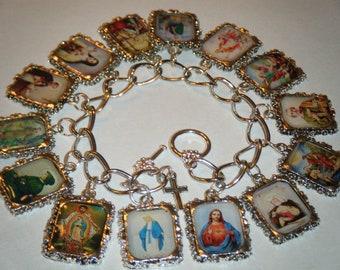Catholic Saints Altered Art Charm Bracelet