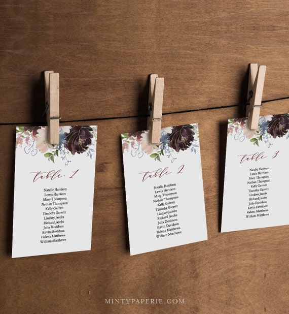 Seating Chart Cards, Table Seating Template, Boho Floral Wedding Seating Plan, INSTANT DOWNLOAD, 100% Editable Text, Printable #040-109SP