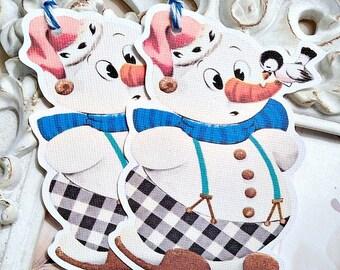 Retro Snowman Tags (6) Christmas Gift Tag-Snowman Gift Tag-Treat Tag-Let it Snow Tags-Snowman Favor Tag-Snowman Die Cut-Winter Gift Tag