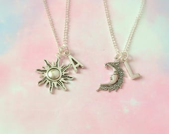 Personalized BFF necklace, personalised best friend necklace, bestie gift, astrology necklace, sun and moon necklace, best friend gift mom