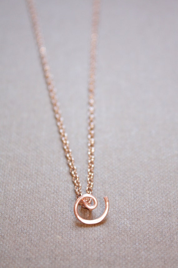 Letter C Necklace Silver Gold Rose Gold Initial Necklace