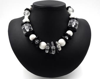Black White Clear Chunky Beaded Plastic Necklace
