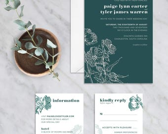 Peaking Poppy Wedding Invitation Suite