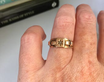 Antique Edwardian 9k gold and diamond star ring with buckle, Stackable, Heirloom, Jewelry, Jewellery, Anniversary, Bridal, Love Token