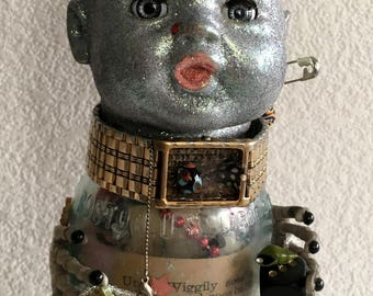 Goth Assemblage,What Little Boys are Made Of,Steampunk,Scary Movie Doll,Goth Art Doll, Snakes and Snails and Puppy Dog Tails,Outsider Art