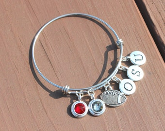 Bangle - Tailgating - Football - Team Colors - Swarovski crystals -Adjustable bangle-School Initials up to 3 letters-Graduation-Mother's Day