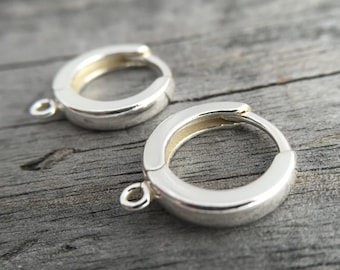Sterling Silver Huggie Hoop Earring With A Loop Sterling Silver Huggie Earring Jewelry Supplies Earring Components