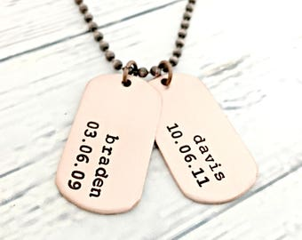 Personalized Mini Copper Dog Tag Set - Mens Dog Tag Necklace - Custom Hand Stamped Daddy Necklace - Name, Birthdate - Husband, Dad Gift Idea