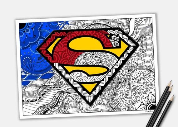 Ausmalbilder Marvel Helden Angel: Superman Malvorlagen Zentangle Superheld Zum Ausdrucken