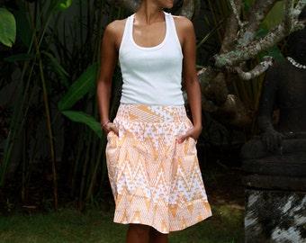 Midi Skirt Tangerine Orange and White, Knee length skirt, Chevron Skirt with Pocket