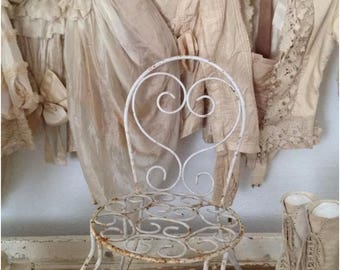Antique French Child's Wrought Iron Chippy White Chair