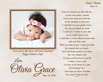 Mothers Day Gift Grandma-To Grandma from Baby-Gift from Grandson-Gift from Granddaughter-Gift from Twins-Gift from Siblings-Choice of Poem