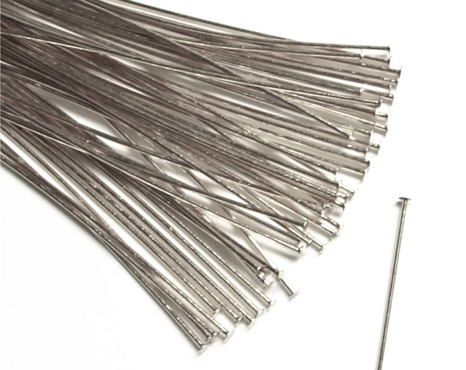 Head Pin, 2 in/24 ga, Silver - 50 Pieces (HPBSP-5024)