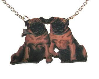 Pug Necklace Cute Vintage Style Pug Pair Wooden Pendant Laser Cut Sweet Dog Jewelry