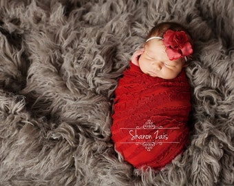 SET Red Ruffle Stretch Fabric Wrap and Headband Newborn Photography Prop Posing