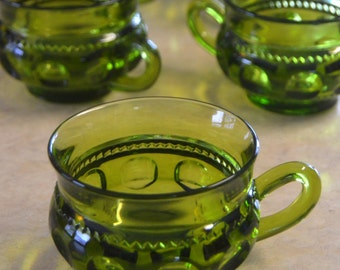 Indiana Glass King's Crown Thumbprint, CUP, punch coffee vintage retro glassware, olive avocado green, Early American Crown and Thumbprint