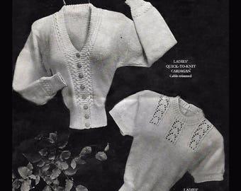 1940's Economy Design Vintage Knitting Pattern Sweater & Cardigan PDF WW11 WW2 WWII Twin Set