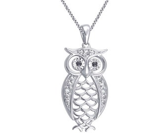 Sterling silver Diamond accent owl necklace