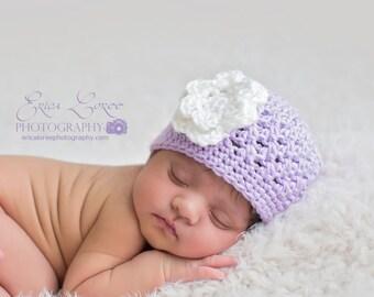 Baby Girl Hat, Ready to Ship, Baby Shower Gift, Crochet Baby Hat, Newborn Hat, Baby Girl Beanie, Newborn Photo Prop, Purple White, Baby Girl