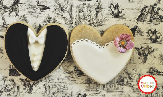 Blossom Bride and Groom Wedding Favor Cookies- 1 Dozen (6 Pair Set)- Cookie Favors, Wedding Cookies,  Bridal Shower Cookies