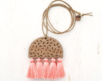 Amelia - Geometric Confetti Wood Necklace with silk tassels - peach - laser cut etched - womens ladies jewellery jewelry - nature blackwood