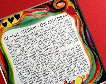 ON CHILDREN 8x8 Kahlil GIBRAN Inspirational Quote Baby Nursery Decor Parenting Motivational Family Gift Heartful Art by Raphaella Vaisseau