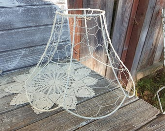 Lampshade wire rings etsy vintage chicken wire jewelry tree ring key caddy swag metal lampshade chippy white chandelier cottage lamp keyboard keysfo Gallery