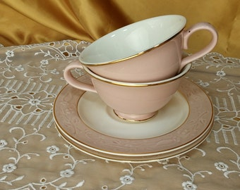 "Tea cups and saucers, ""Shadows"" by Taylor, Smith & Taylor, Two sets for Tea Party, Wedding, Bridal Shower, Luncheon 4 pieces *eb"