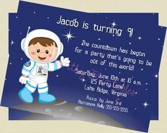 Space Theme Birthday Invitation/Astronaut Invite/Outerspace Birthday/Space Printable/DIY Printable File
